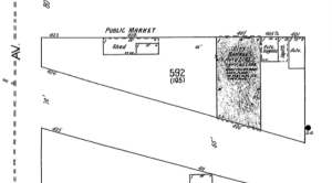 Detail of Sanborn Fire Map (August 1921, p. 13) showing Public Market on Cedar Street.