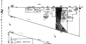 Detail of Sanborn Fire Map (July 1948, p. 13) showing former public market on Cedar Street.